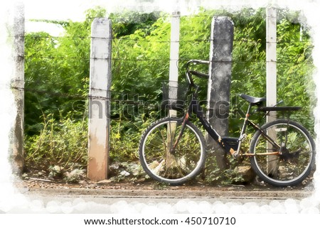bicycle with rust barbed wire water color filter - stock photo