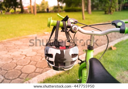 bicycle with safety helmet in the park