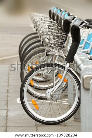 Bicycles For Rent In The Street - stock photo