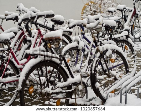 bicycles in winter