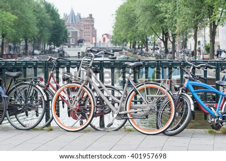 Bicycles on a bridge in Amsterdam, Netherlands