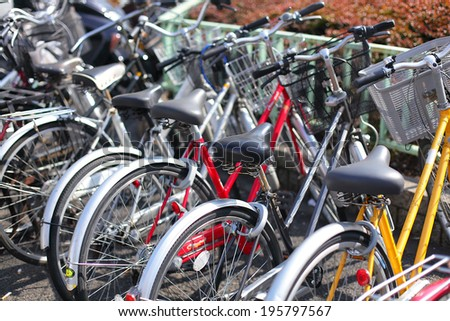 Bicycles on the street in Japan