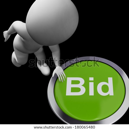 Bid Button Showing Auction Buying And Selling - stock photo