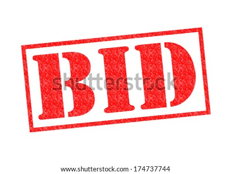 BID red Rubber Stamp over a white background. - stock photo