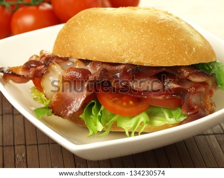 Bid sandwich with bacon and vegetables - stock photo