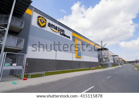 BIELANY, POLAND - MAY 04, 2016: The newly opened warehouse of retailer amazon.com. on 04 may, 2016 in Bielany near Wroclaw, Poland.