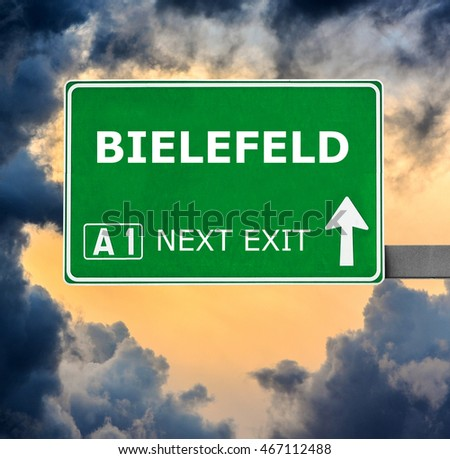 BIELEFELD road sign against clear blue sky