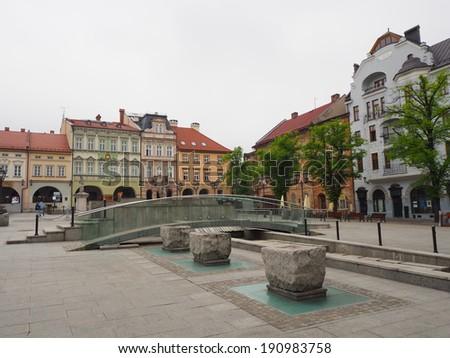 Bielsko-Biala- circa may 2014 - old marketplace in Bielsko-Biala, Poland - stock photo