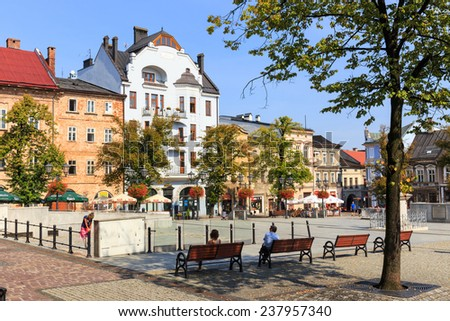 Bielsko Biala, Poland - September 07, 2014: View of the historical part of Bielsko Biala in the summer, sunny day - stock photo