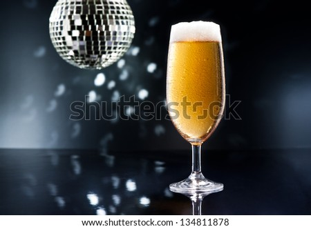 Bier on Disco Bar with natural colors - stock photo