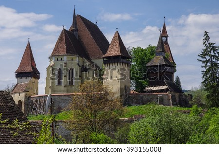 Biertan, Transylvania. Tourist Saxon village with fortified church (castle) in Romania