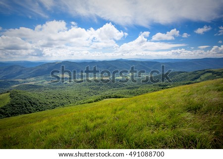 Bieszczady - mountains in Poland view from top of a mountain
