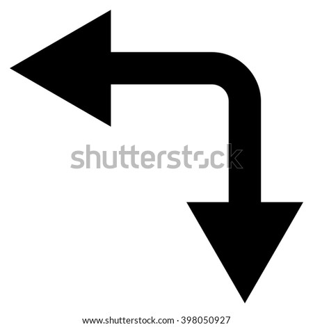 Bifurcation Arrow Left Down raster icon. Style is flat icon symbol, black color, white background.