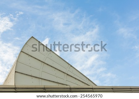 Big air condition on the roof with blue sky.