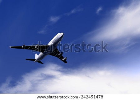 Big airplane flying on blue sky
