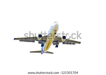 Big airplane is flying to the sky - stock photo