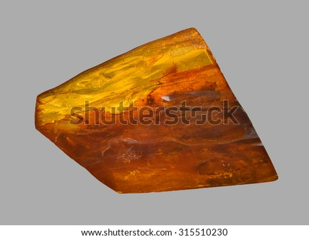 big amber with insect inside - stock photo