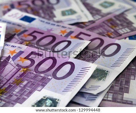 Big amount of Five hundred notes of European Union Currency - stock photo