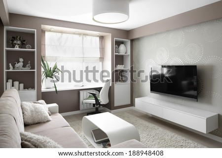 big and bright interior of modern living room - stock photo