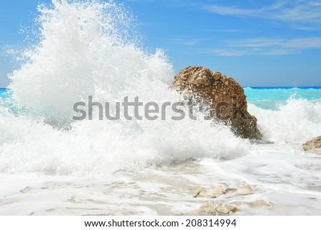 Big and high windy sea water spray splash - stock photo