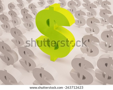 big and small dollar sign text in 3d