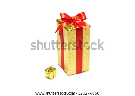 Big and small gift boxes  with bow and ribbon on white background - stock photo