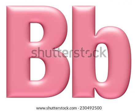 Big and Small Letter B isolated on white background  - stock photo