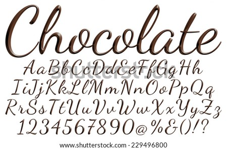 Big and small letters of the alphabet with digits made from chocolate syrup are isolated on a white background - stock photo
