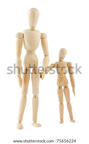 Big and small wooden figures isolated on white background