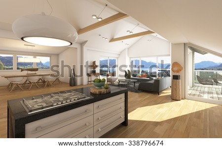 Big Apartment With A Lake View 3D Rendering