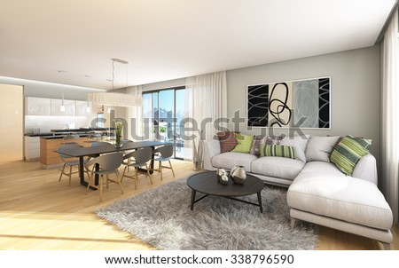 Big Apartment With A View To Mountains 3D Rendering
