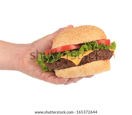 Big appetizing hamburger in hand. Isolated on a white background. - stock photo