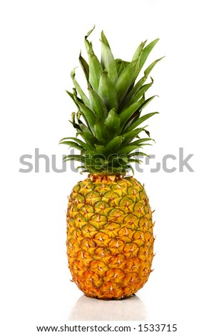 Big appetizing pineapple isolated on white background
