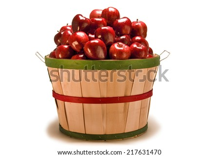 Big Apple Basket Stuffed Full Of Apples On White Background - stock photo