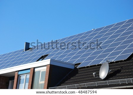 Big area of solar panels - stock photo
