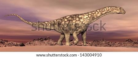 Big argentinosaurus dinosaur walking quietly in the desert by dawn - stock photo