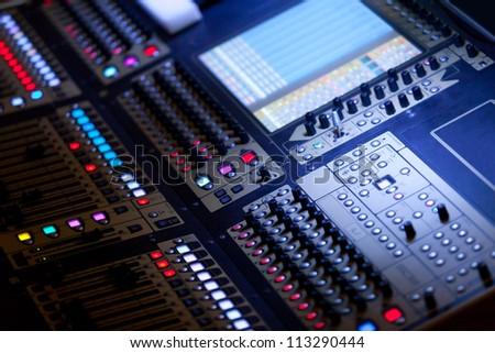Big Audio Mixing Console - stock photo