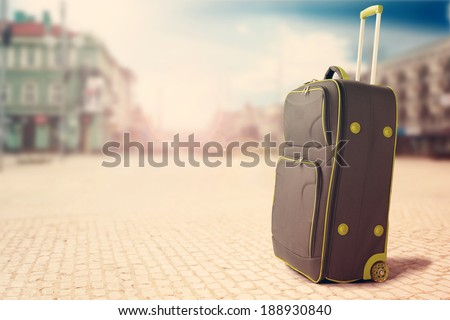 big bag in the city and travel  - stock photo