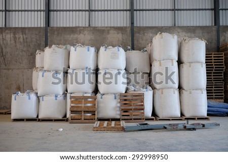 Big bags that contain the rice , rice mill Thailand. - stock photo