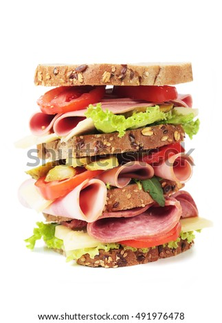 Big baloney or Bologna sausage sandwich isolated on white background