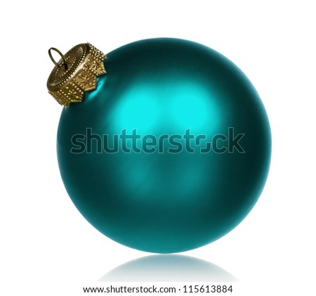 Big bauble for christmas firtree on white background - stock photo