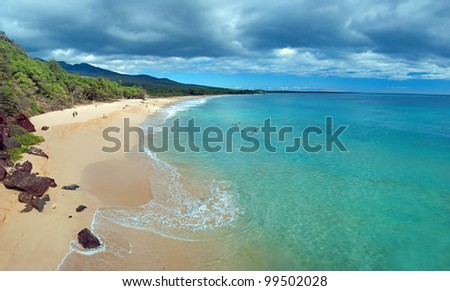 Big beach on maui hawaii island with azure ocean - stock photo