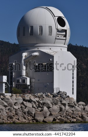 Big Bear Lake, California, June 16, 2016 : The Big Bear Solar Observatory with the lake level down 14 feet from normal. - stock photo