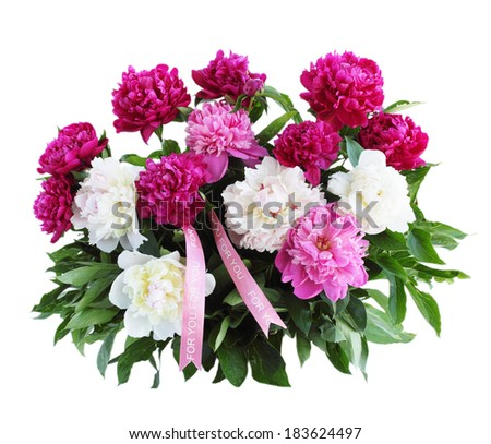 Big beautiful bouquet of peonies isolated on white background
