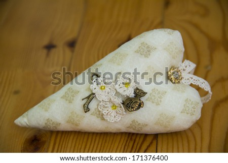 big beautiful tilda textile heart - stock photo