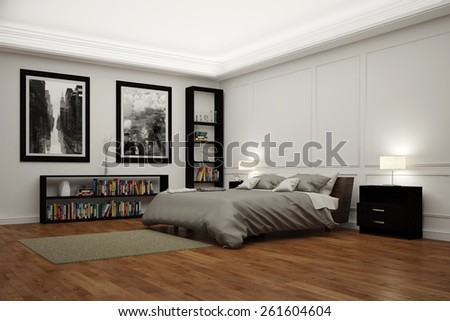 Big bedroom with bed at night illuminated by lamps (3D Rendering) - stock photo