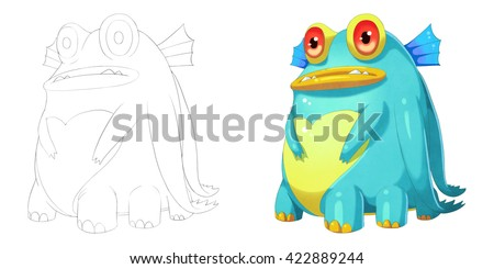 Big Belly Fat Fish Creature. Coloring Book, Outline Sketch, Monster Mascot Character Design isolated on White Background  - stock photo