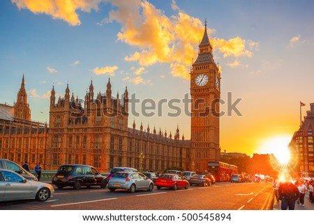 Big Ben against colorful sunset in London, UK