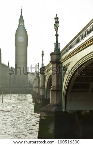 Big Ben and bridge - stock photo