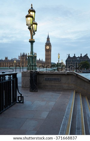 Big Ben and bridge, nobody in the early morning in London, natural colors and lights